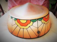 GENUINE DECO VINTAGE GLASS LARGE LAMPSHADE PLAFFONIER BOLD ORANGE DAISY SUNBURST